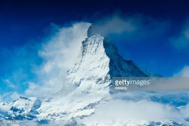 World famous mountain peak Matterhorn above Zermatt town Switzerland, in winter