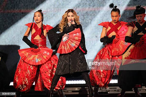 World famous singer Madonna sings on stage as she holds concert at Taipei Arena on February 4 2016 in Taipei Taiwan of China