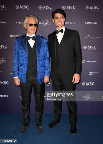 World famous tenor Andrea Bocelli and Matteo Bocelli a young talent with an incredible voice attend the MSC Bellissima Naming Ceremony on March 02...