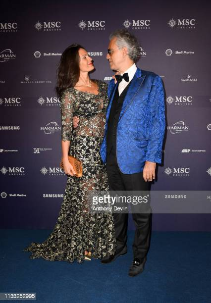 World famous tenor Andrea Bocelli and wife Veronica Berti attend the MSC Bellissima Naming Ceremony on March 02, 2019 in Southampton, England.