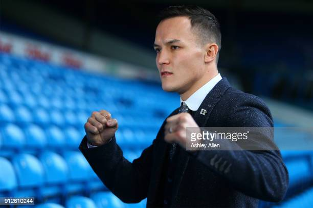 World Featherweight boxer Josh Warrington during the press conference in the Norman Hunter Suite at Elland Road on January 31 2018 in Leeds England