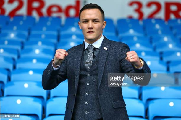 World Featherweight boxer Josh Warrington poses for a photo during the press conference in the Norman Hunter Suite at Elland Road on January 31 2018...
