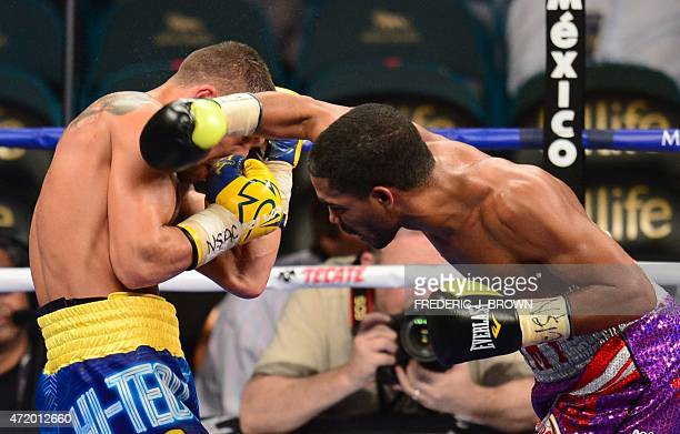 World featherweight boxing champion Vasyl Lomachenko of Ukraine defends against Gamalier Rodriguez of Puerto Rico on May 2 2015 at the MGM Grand...