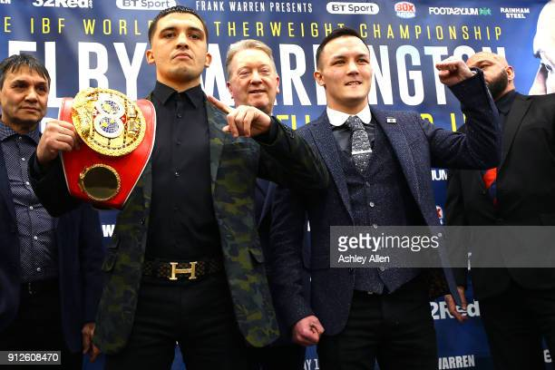 World Featherweight Champion Lee Selby and Mandatory Challenger Josh Warrington during the press conference in the Norman Hunter Suite at Elland Road...