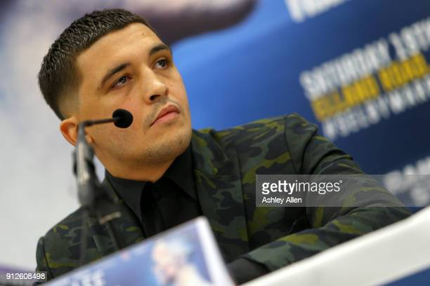 World Featherweight Champion Lee Selby during the press conference in the Norman Hunter Suite at Elland Road on January 31 2018 in Leeds England