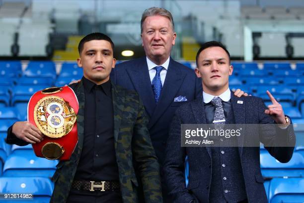 World Featherweight Champion Lee Selby fight promoter Frank Warren and challenger Josh Warrington pose for a photo during the press conference in the...