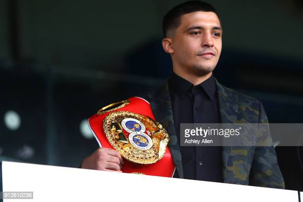 World Featherweight Champion Lee Selby has a look at Elland Road's pitch during a press conference in the Norman Hunter Suite at Elland Road on...