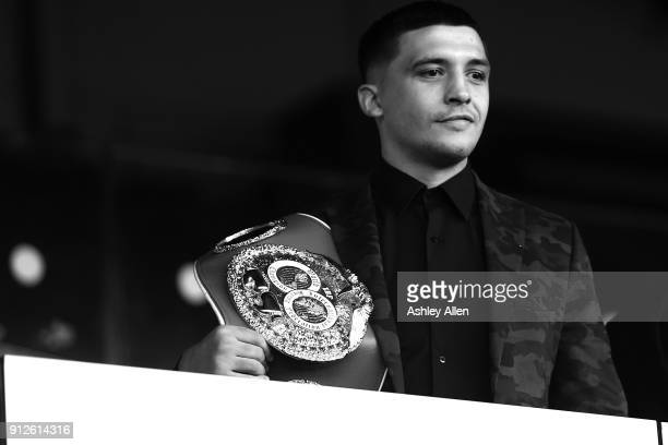 IBF World Featherweight Champion Lee Selby has a look at Elland Road's pitch during a press conference in the Norman Hunter Suite at Elland Road on...