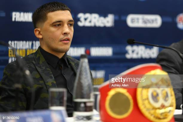 World Featherweight Champion Lee Selby listens intently during the press conference in the Norman Hunter Suite at Elland Road on January 31 2018 in...