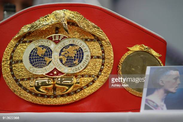 World Featherweight Champion Lee Selby's World Championship belt during the press conference in the Norman Hunter Suite at Elland Road on January 31...