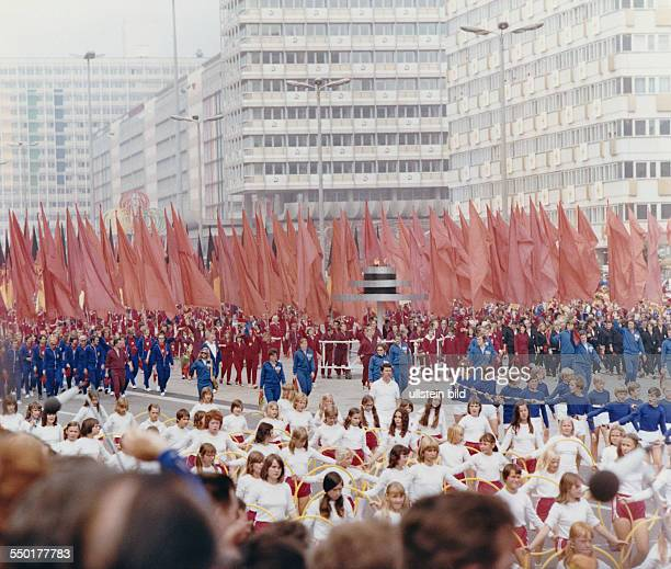 GDR World Festival of Youth and Students in East Berlin in 1973 participants parading