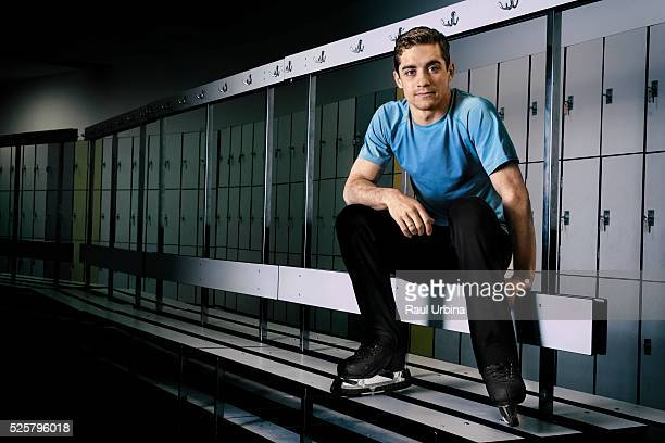 World Figure Skating Champion Javier Fernandez poses during a portrait session at Ice Track 'Francisco Fernandez Ochoa' on May 8 2015 in Valdemoro...