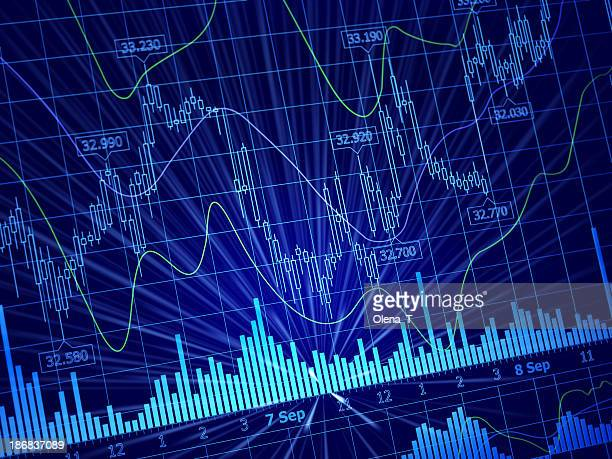World finance line & bar charts combined on blue background