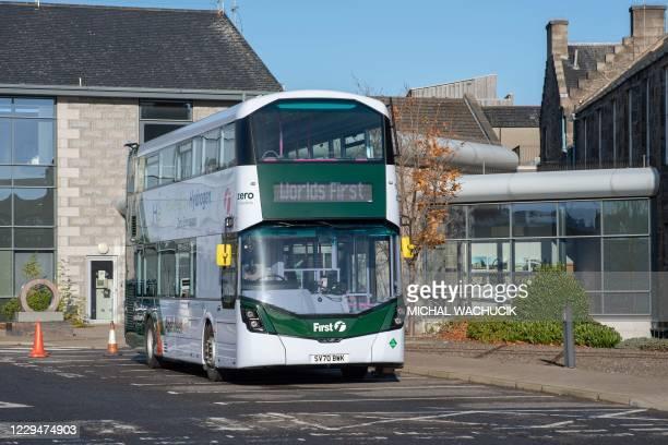 World first hydrogen powered, zero emission double-decker bus is pictured in Ellon in Aberdeenshire, Scotland on November 5, 2020. - Scotland is the...