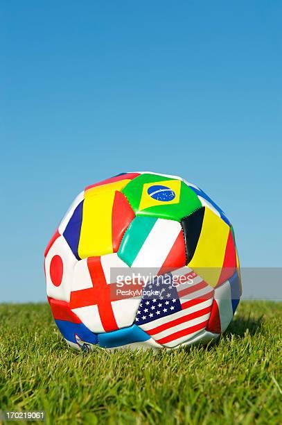 World Flag Football Soccer Ball Blue Sky Green Grass