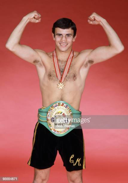 WBC World Flyweight Boxing Champion Charlie Magri wearing the Championship belt in London 15th May 1983