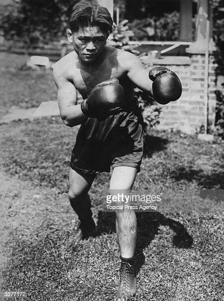 World flyweight boxing champion Pancho Villa of the Philippines in training