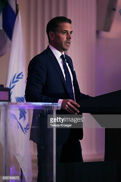World Food Program USA Board Chairman Hunter Biden speaks on stage at the World Food Program USA's Annual McGovernDole Leadership Award Ceremony at...