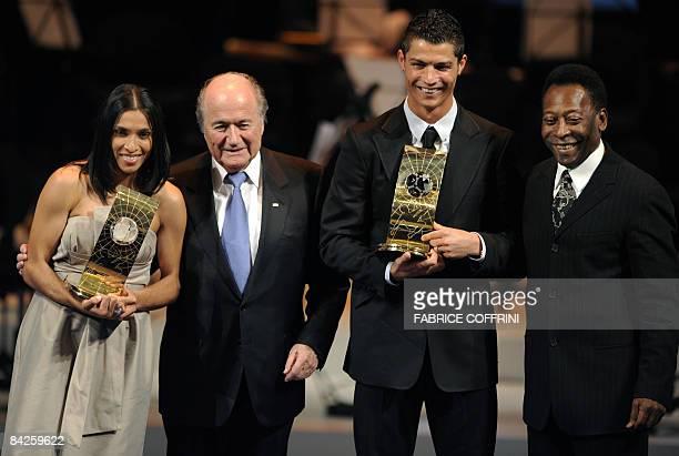 FIFA world Footballer of the Year 2008 Brazil's Marta and Portugal's Cristiano Ronaldo pose with FIFA president Sepp Blatter and Brazilian football...