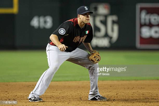 World Future's AllStar Alex Liddi of the Seattle Mariners plays third base during the 2011 XM AllStar Futures Game at Chase Field on July 10 2011 in...