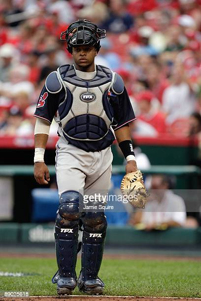 World Futures All-Star Carlos Santana of the Cleveland Indians looks on during the 2009 XM All-Star Futures Game at Busch Stadium on July 12, 2009 in...