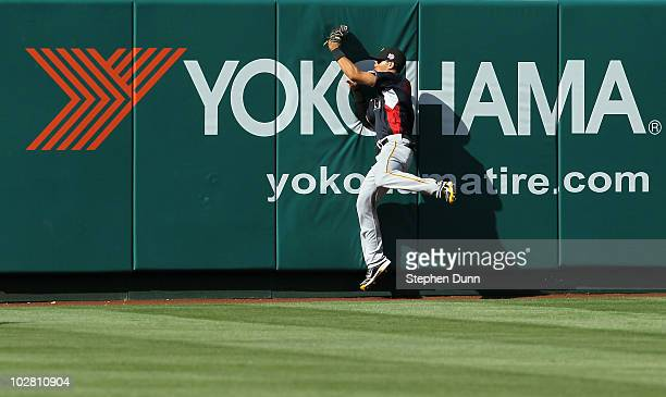 World Futures All-Star Gorkys Hernandez of the Pittsburgh Pirates catches the ball during the 2010 XM All-Star Futures Game at Angel Stadium of...