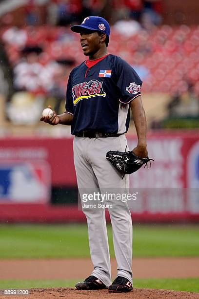 World Futures All-Star Neftali Feliz of the Texas Rangers looks on during the 2009 XM All-Star Futures Game at Busch Stadium on July 12, 2009 the in...