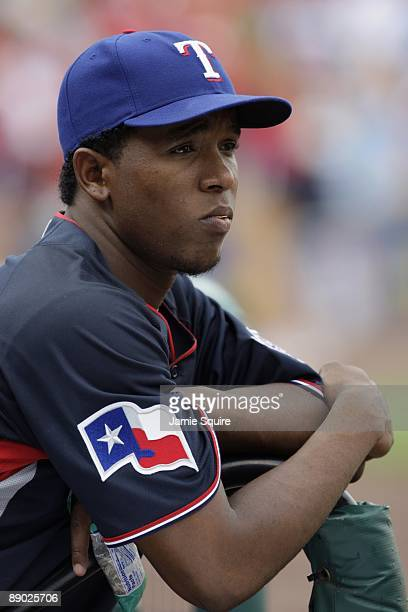 World Futures All-Star Neftali Feliz of the Texas Rangers looks on during the 2009 XM All-Star Futures Game at Busch Stadium on July 12, 2009 in St....