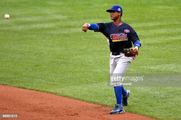 World Futures All-Star Starlin Castro of the Chicago Cubs fields the ball during the 2009 XM All-Star Futures Game at Busch Stadium on July 12, 2009...