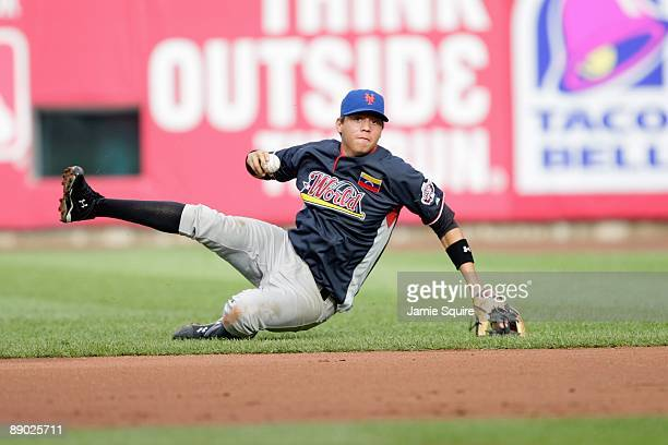 World Futures All-Star Wilmer Flores of the New York Mets fields during the 2009 XM All-Star Futures Game at Busch Stadium on July 12, 2009 in St....