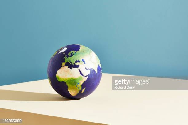 a world globe centred on europe - europe stock pictures, royalty-free photos & images