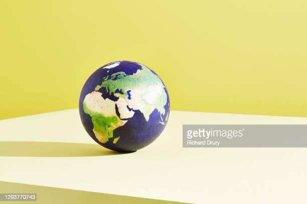 a world globe centred on middle east - richard drury stock pictures, royalty-free photos & images