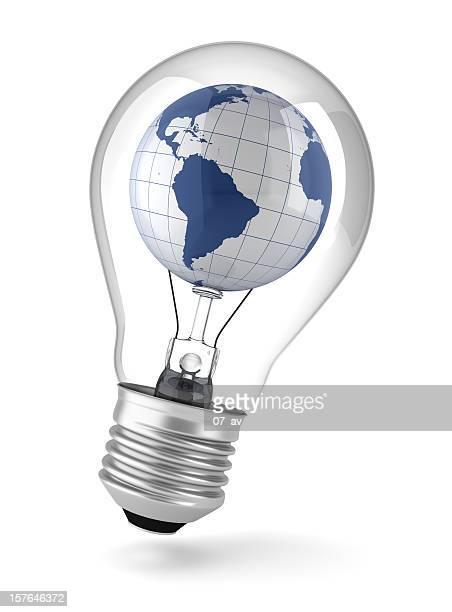 A world globe inside of a lightbulb