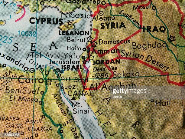 world globe: israel and neighbors - mt sinai stock photos and pictures
