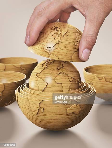 World globe model resembling russian dolls
