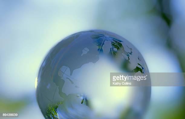 World globe showing Europe and USA