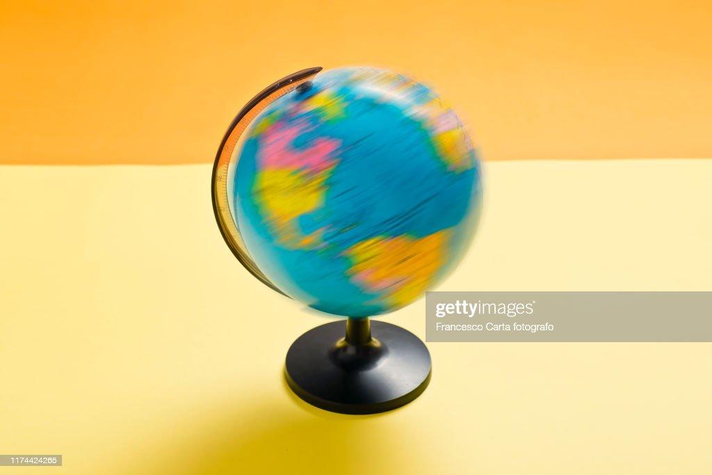 World globe spinning : Stock Photo