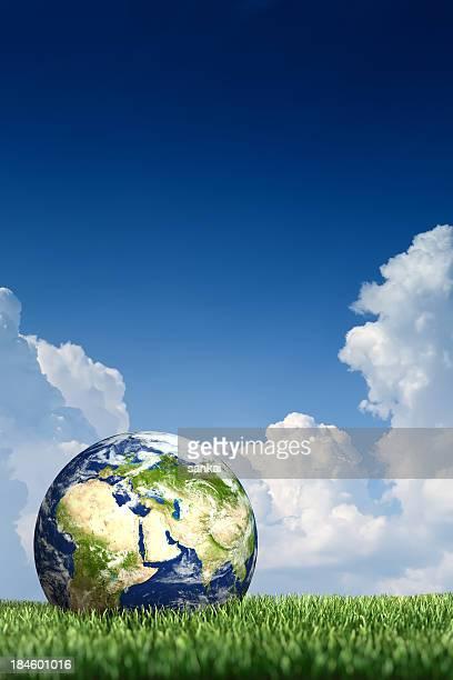 World Handschuh auf dem grünen Gras