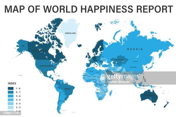 world happines report on political map with scale, borders and countries - world map stock pictures, royalty-free photos & images