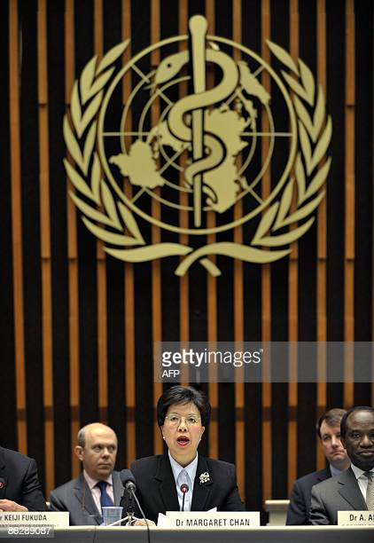 World Health Organisation chief Margaret Chan answers to journalist during a press conference after WHO raised its flu alert to phase five out of six...