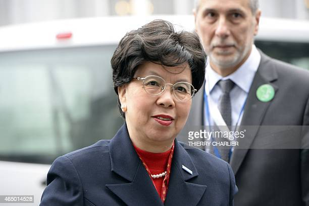 World Health Organisation chief Margaret Chan arrives to attend a conference on Ebola on March 3 2015 in Brussels Leaders of Ebolahit countries in...