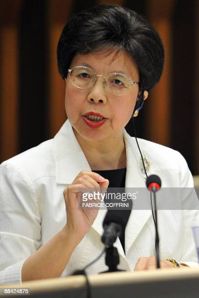World Health Organisation Director General Margaret Chan gestures during a press conference on June 11 2009 in Geneva after the WHO decided to...