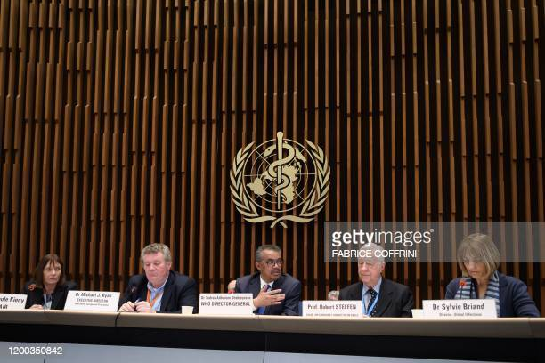 World Health Organization Cochair MariePaule Kieny WHO Health Emergencies Programme head Michael Ryan WHO DirectorGeneral Tedros Adhanom Ghebreyesus...