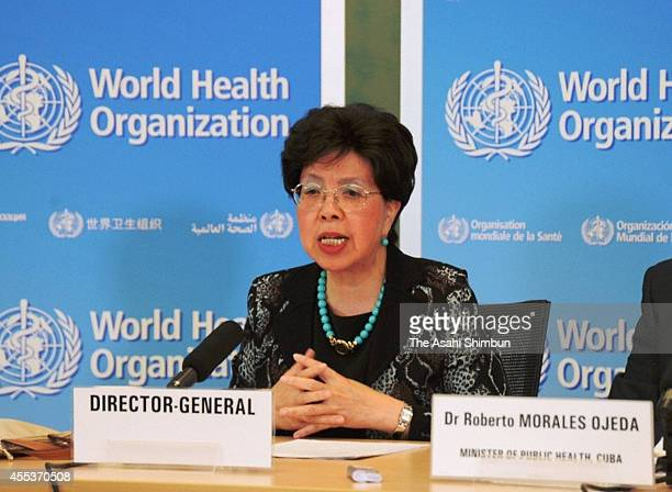 World Health Organization DirectorGeneral Margaret Chan speaks during a press conference on September 12 2014 in Geneva Switzerland WHO announced the...