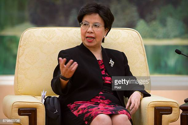World Health Organization DirectorGeneral Margaret Chan speaks during a meeting with Chinese President Xi Jinping at the Great Hall of the People on...