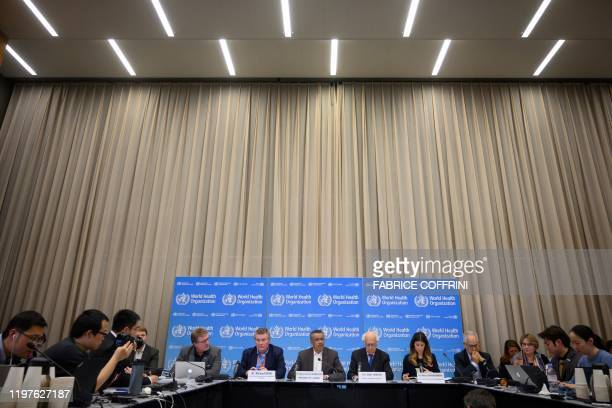 World Health Organization DirectorGeneral Tedros Adhanom Ghebreyesus speaks during a press conference following a WHO Emergency committee to discuss...