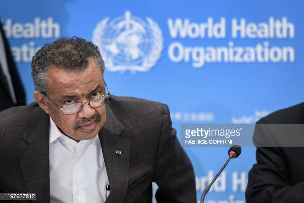 World Health Organization DirectorGeneral Tedros Adhanom Ghebreyesus arrives for a press conference following a WHO Emergency committee to discuss...