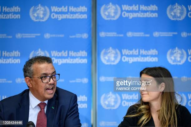 World Health Organization DirectorGeneral Tedros Adhanom Ghebreyesus and WHO Technical Lead Maria Van Kerkhove attend a daily press briefing on...