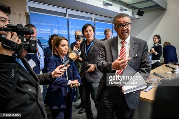 World Health Organization DirectorGeneral Tedros Adhanom Ghebreyesus is surrounded by journalists at the end of a daily press briefing on COVID19 the...