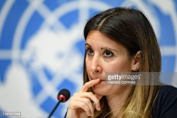 World Health Organization Emerging Diseases and Zoonosis head Maria Van Kerkhove gestures during a press briefing on evolution of new coronavirus...